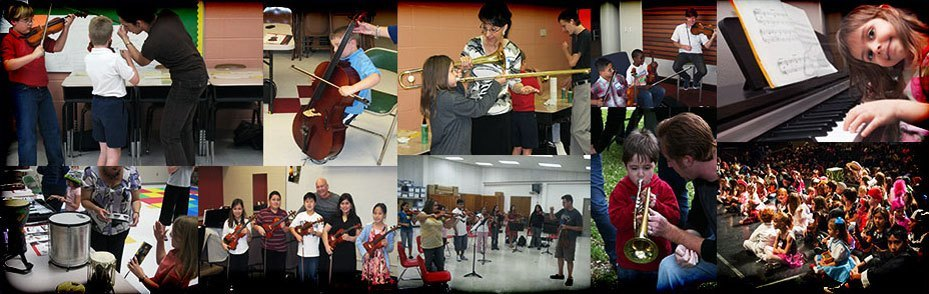 Collage of children learning to play instruments