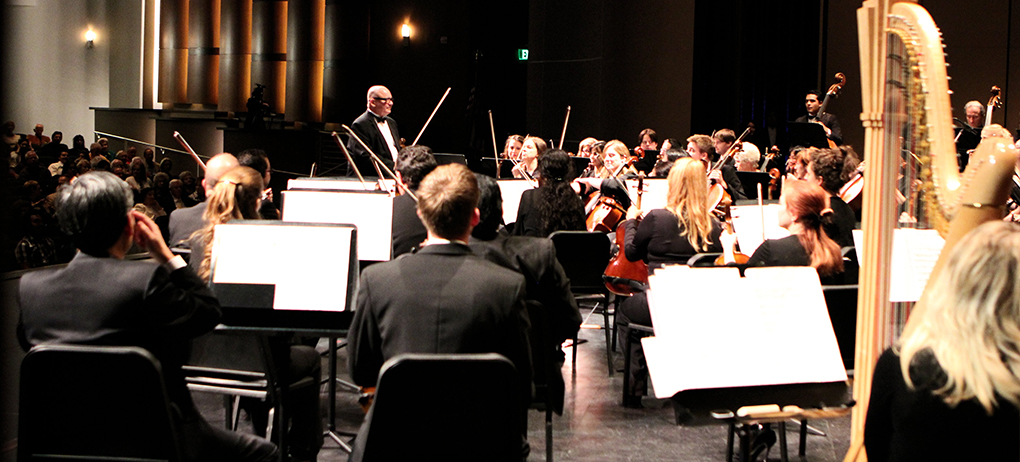 Symphony orchestra performing on stage