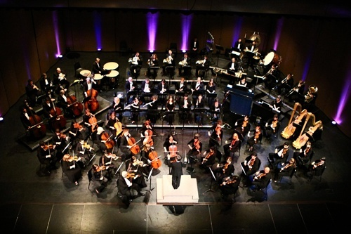 Overhead of orchestra performing